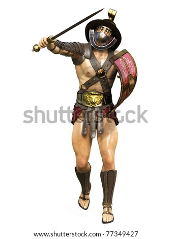 gladiator front attack - stock photo