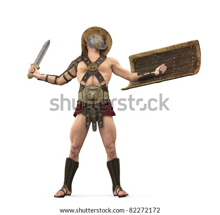 gladiator the victory is mine front view - stock photo