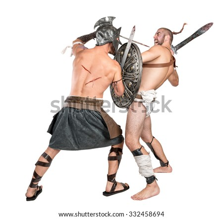 Gladiators fighting isolated in a white background - stock photo