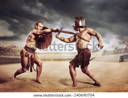 Gladiators fighting on the arena of the Colosseum - stock photo