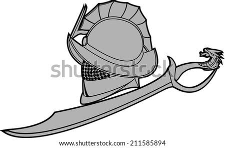 gladiators helmet with sword. raster version - stock photo