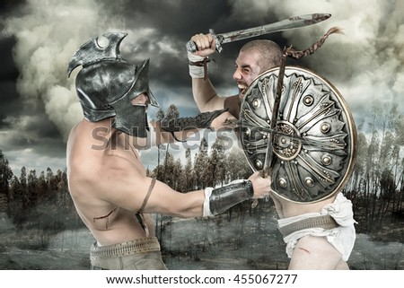 Gladiators or warriors fighting with shield and swords in a battle