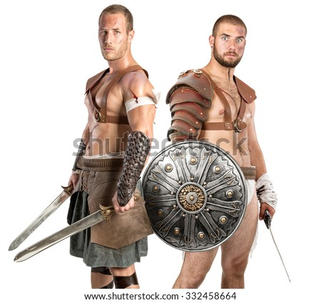 Gladiators posing isolated in a white background - stock photo