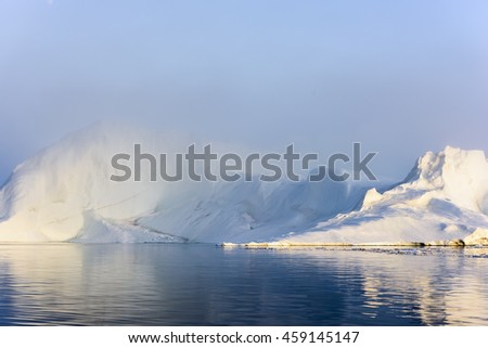 Glaicers are on the arctic ocean, ilulissat fjord to Greenland with beautiful shadow