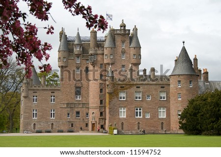 Glamis Castle in Scotland - stock photo