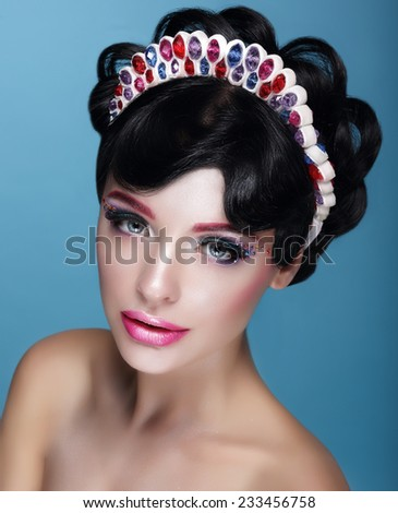 Glamor. Beautiful Brunette in Crown with Jewels - stock photo