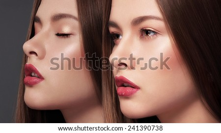 Glamor. Faces of Two Young Gorgeous Sensual Women - stock photo