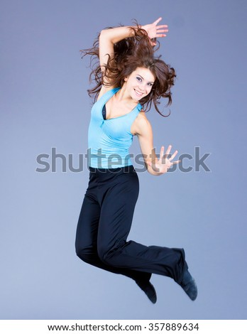 Glamor Jumping Happiness  - stock photo