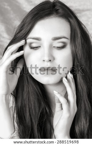 glamor portrait of beautiful girl. close-up - stock photo