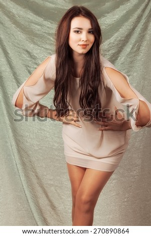 glamor portrait of beautiful girl. Posing - stock photo