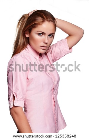 glamor portrait of beautiful sexy  Caucasian young stylish woman model in casual cloth - stock photo