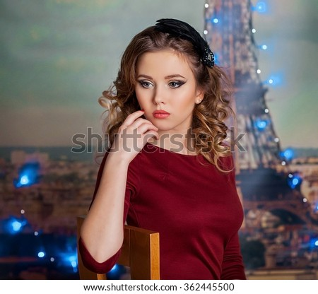 glamorous beautiful blonde woman with perfect skin. Urban style. Nightlife concept. - stock photo