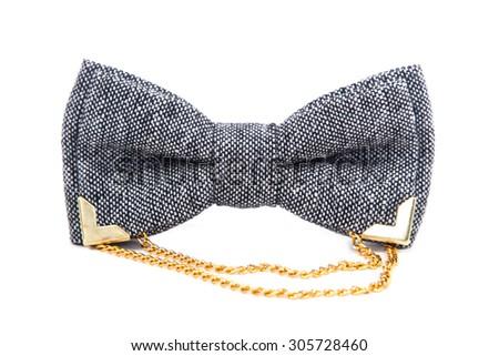 glamorous gray bow-tie isolated on white background - stock photo