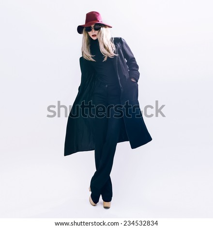 Glamorous Lady in classic black Coat and Hat. Fashion  fall winter style - stock photo