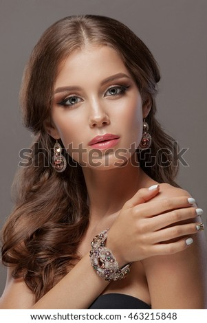 Attractive Black Woman Wearing Golden Necklace Stock Photo ...