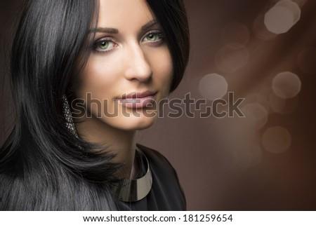glamorous portrait of young beautiful girl - stock photo