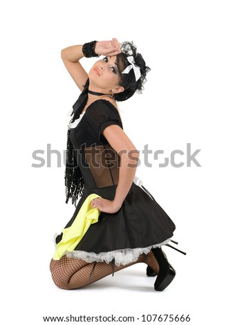 Glamorous sexy french maid with duster, concept cleaning