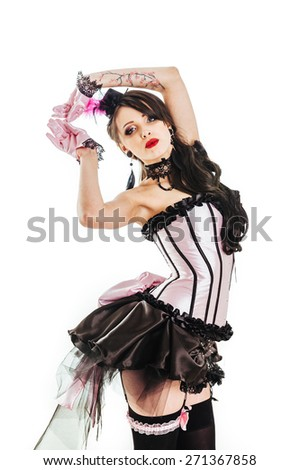 Glamorous Sexy Moulin Rouge courtesan girl wearing hot lingerie. Beuty woman in variety show style hat and sequins fashion cabaret party - stock photo