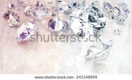 glamorous sparkling diamonds fashion background - stock photo