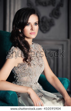Glamorous  Woman Posing on Background - stock photo