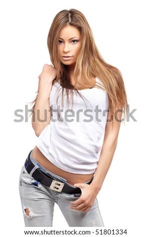 Glamorous young sexy woman - stock photo