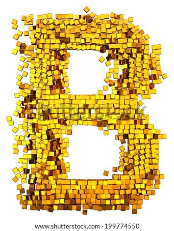 Glamour Alphabet made from gold cubes.  Letter b - stock photo
