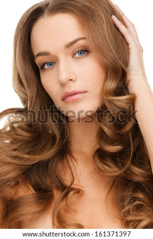 glamour, beauty and health, concept - beautiful calm woman with long curly hair