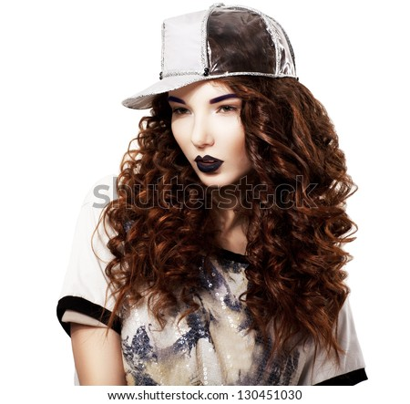 Glamour. Classy Red Hair Fashion Model in Futuristic Cap. Bright Makeup - stock photo