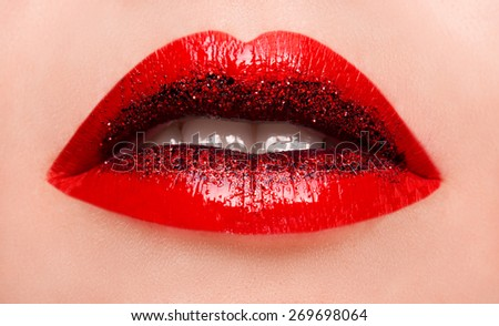Glamour fashion bright pink lips gloss make-up with gold glitter. Macro of woman's face part. Sexy glossy lip makeup, luxury lady - stock photo