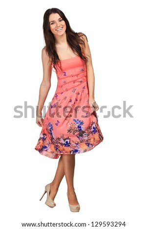 Glamour girl in dress on white - stock photo