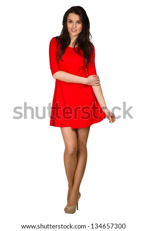 Glamour girl in red dress on white - stock photo