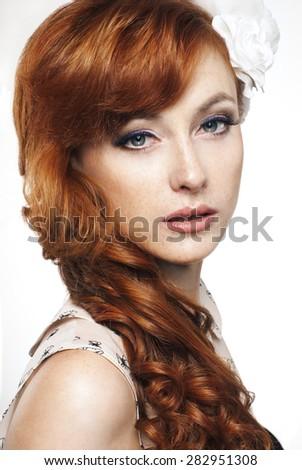 Glamour Lady. Fashion Beauty Girl. Gorgeous Woman Portrait  - stock photo