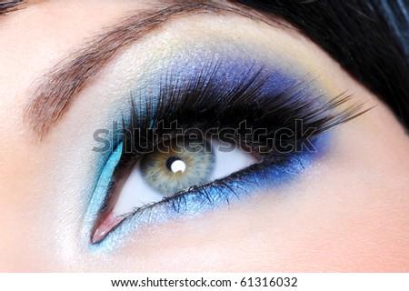 Glamour make-up with long false eyelashes - macro shot - stock photo