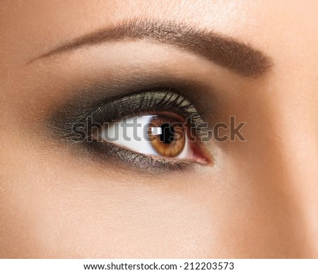 Glamour make up woman eye close up . High-end Retouch