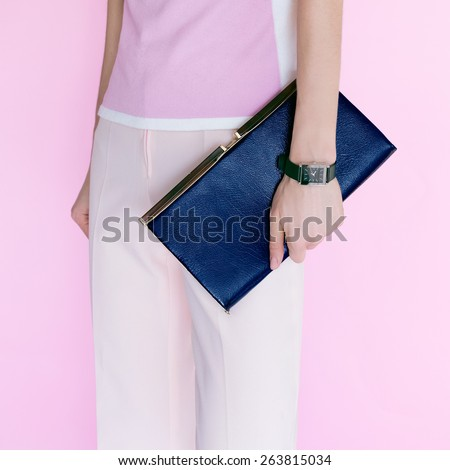 Glamour Model with fashionable clutch. Vanilla style - stock photo
