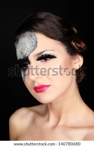 Glamour portrait of a beautiful serious woman with red lips and lace pattern