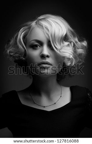 glamour portrait of beautiful curly blonde girl - stock photo