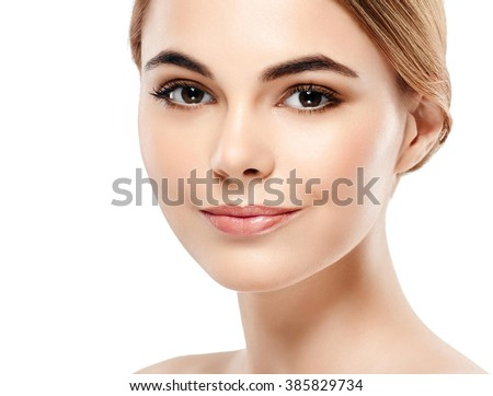 Glamour portrait of beautiful woman model with fresh daily makeup Healthy skin concept isolated on white background  - stock photo