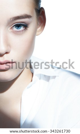 Glamour portrait of beautiful woman model with fresh daily makeup / photoset of attractive brunette girl on white background - stock photo