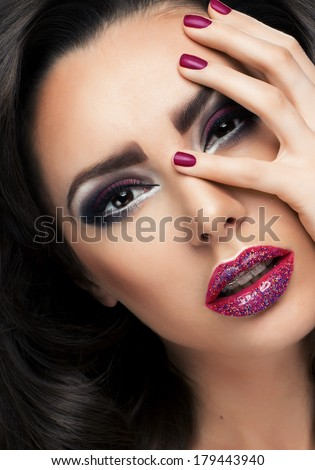 Glamour portrait of beautiful woman model with fresh makeup  - stock photo