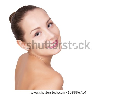 Glamour portrait of beautiful young woman with perfect skin. Attractive caucasian girl face