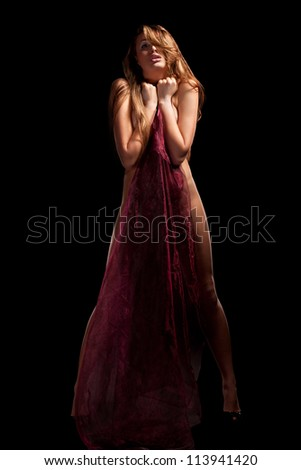 Glamour portrait of standing blond woman - stock photo