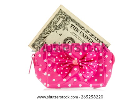 Glamour purse with dollar, isolated on white background - stock photo