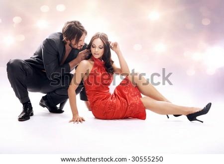 Glamour style photo of a beautiful couple - stock photo