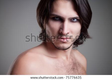 glamour vampire men, studio shot, closeup portrait - stock photo