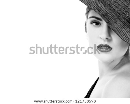 glamour woman with black hat monochrome portrait isolated on white