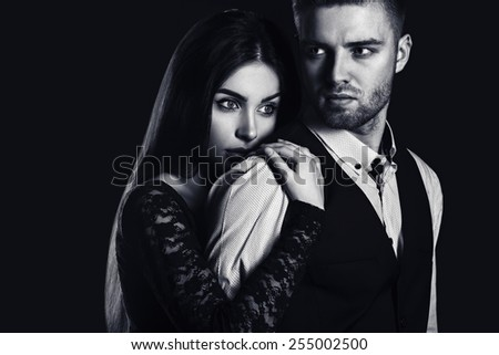 glamour young beautiful man and woman couple. love passion portrait. fashion elegance style. - stock photo