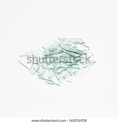 glas splitter Broken window heap on white gray background - stock photo
