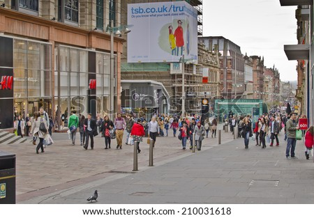 GLASGOW, SCOTLAND - APRIL 16: Buchanan Street on April 16, 2014 in Glasgow, Scotland. Glasgow is the largest city in Scotland, with a population of 599k in the city and 1.2 million in Greater Glasgow. - stock photo