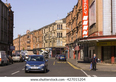GLASGOW, SCOTLAND - AUGUST 21, 2004: Street scene in Govan.